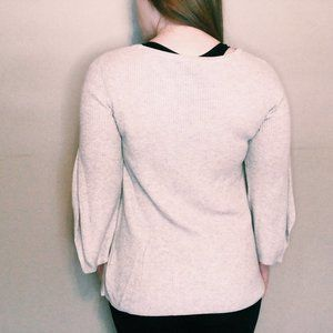 H by Halston Sweaters - H By Halston Bell & Split Sleeved Cream Sweater